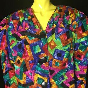 •🌈🔶 80s Multicolor Rainbow Satiny Blazer 🔷🌈•